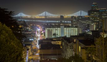 Looking over the Bay Bridge in San Francisco at night.