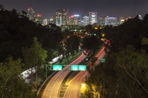 Looking downtown San Diego from Balboa Park at night