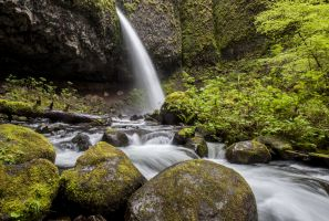 A waterfall along the Columbia River Gorge in Oregon