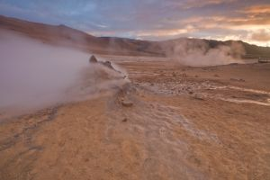Steam coming out of the ground near Skútustaðahreppur, Northeast Iceland