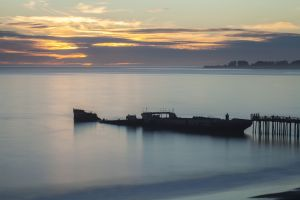 Long exposure of the S. S. Palo Alto at Seacliff State Beach