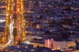The Castro Theatre in San Francisco at night