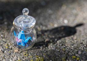 Tiny origami in a tiny jar