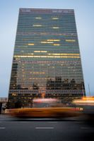 United Nations Building with reflection of New York City
