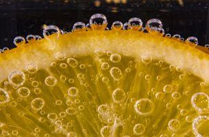 Orange slice in fizzy water