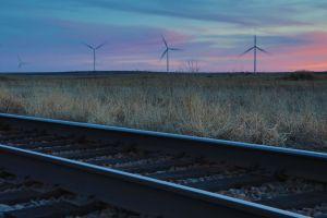 Wind turbines at sunet