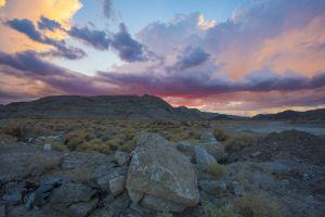 A sunset over Baker, California