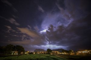 A lightning storm over a golf course in Sedona at night